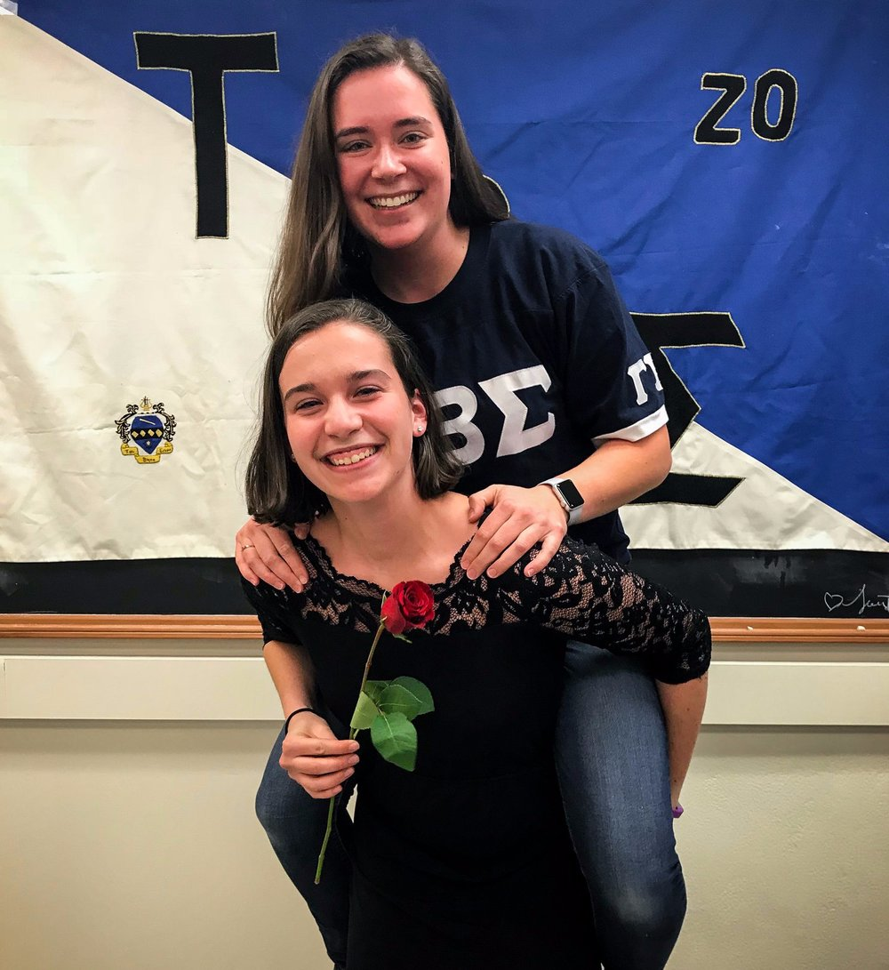 Ashlyn McDonald with her little, Jordan Downing, at the Tau Beta Sigma - Gamma Delta initiation; Source: Tau Beta Sigma