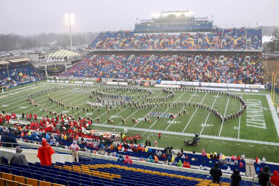 The Marching Virginians during Halftime at the Military Bowl; Source: The Marching Virginians — The Spirit of Tech