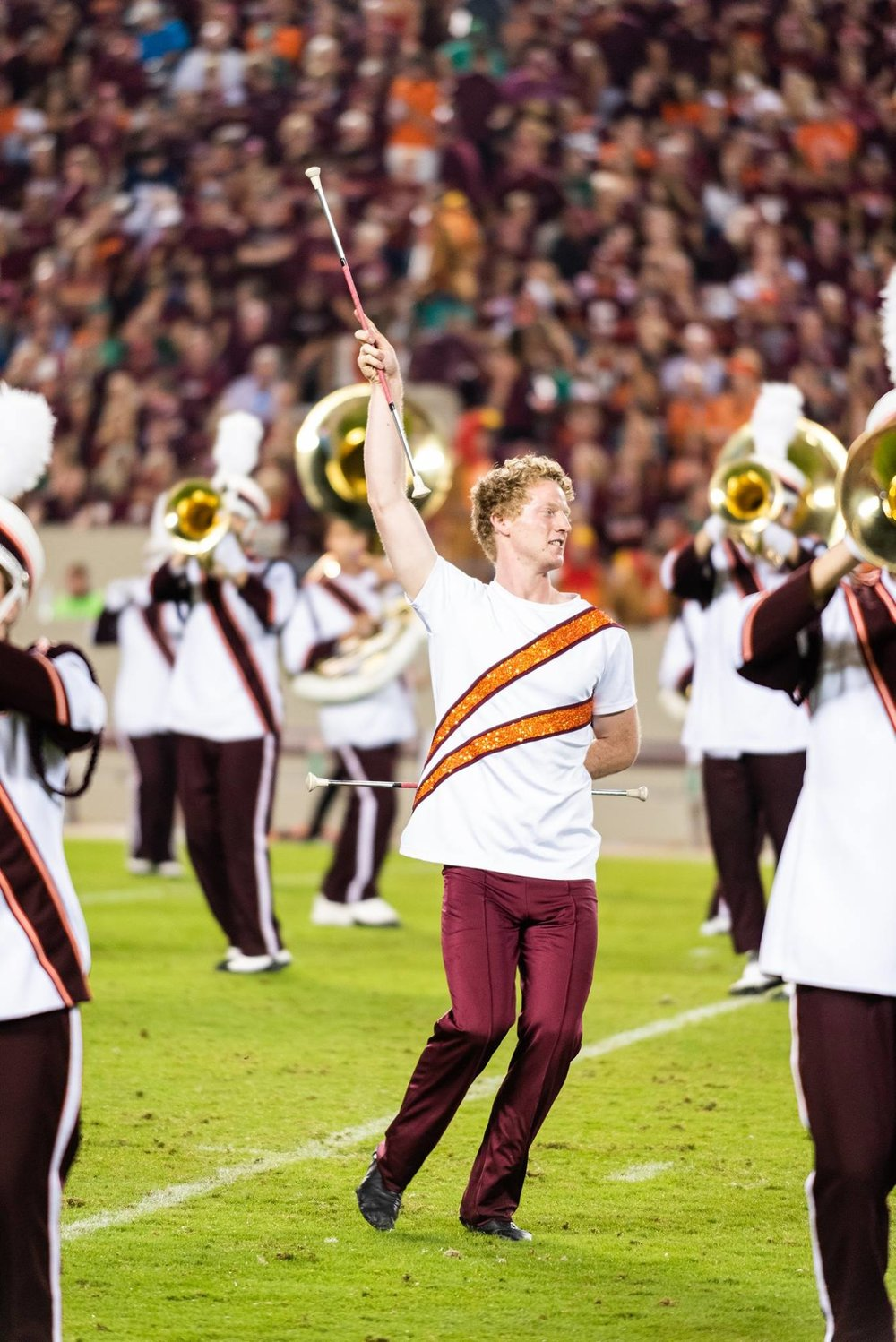 Connor performing on-field in Lane Stadium; Source: Brendan Little