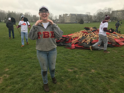 Syd Hartwig with a pile of volunteer rakes; Source: Cassie Letta