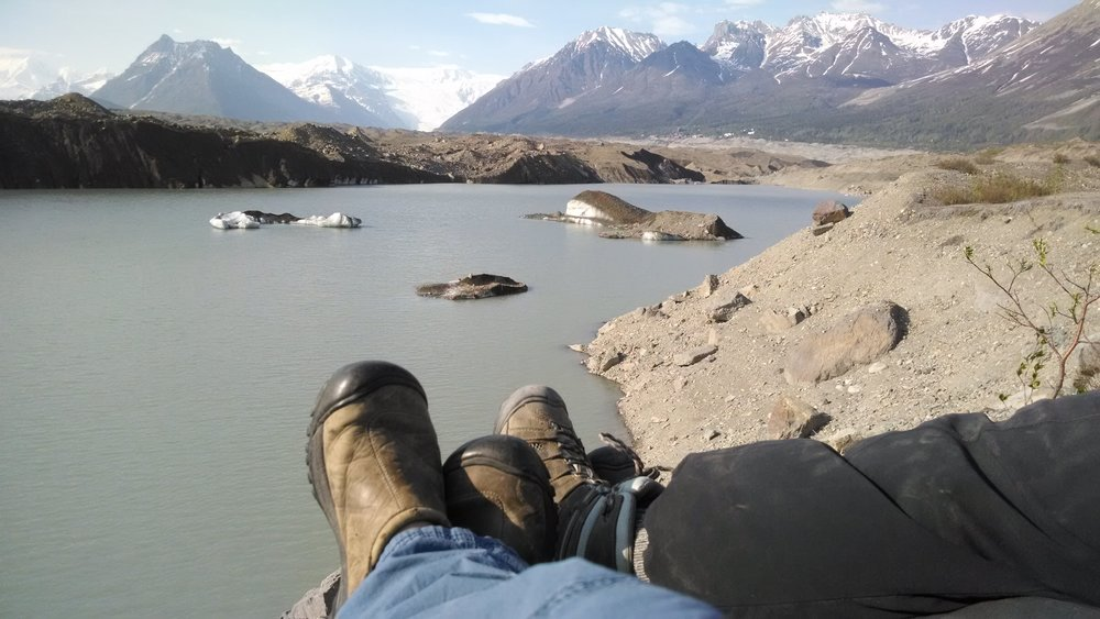 Relaxing at the toe of the Kennicott glacier