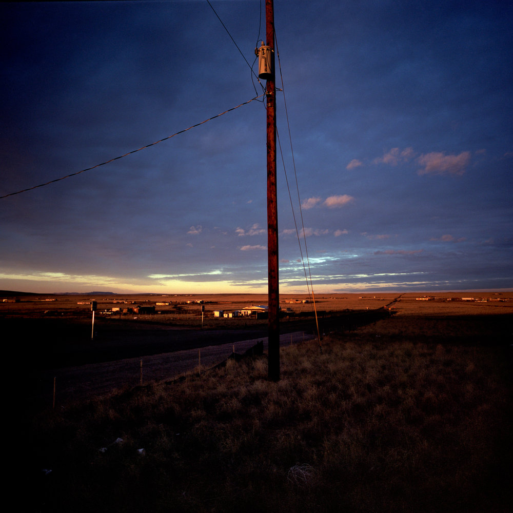 The last power line overlooking the off-the-grid community of Pajarito Mesa, New Mexico on Feb. 19, 2011.