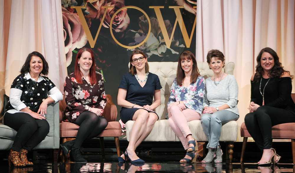 Panelist from left to right - Ramona Southard of Love and Lace Bridal, Christen Schneider of Wed Altered, Meredith Bullock of Anya Bridal, Liz Stoner and Brenda Norman of Normans Bridal, and Wendy Rivera of Do You Speak Bride