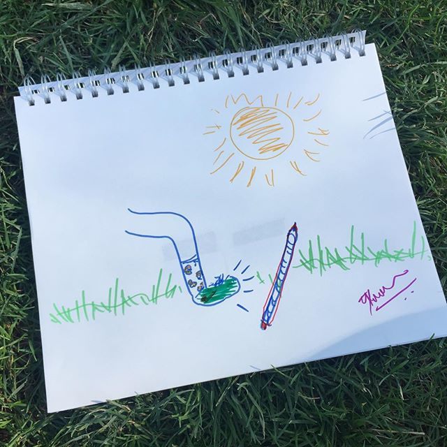🏃🏻🖌🖋🖊 🌱🌿🌱🌿 Can you guess the artist's inspiration? (Hint: the words were 'kick' and 'pen' )  #theforger #getaway #kick#pen#drawing#design#creative#games#indiegames#gamedesign#fakeart#art#artist#picnic#centralpark#park#summer#nyc#indie#tabletopgames#green