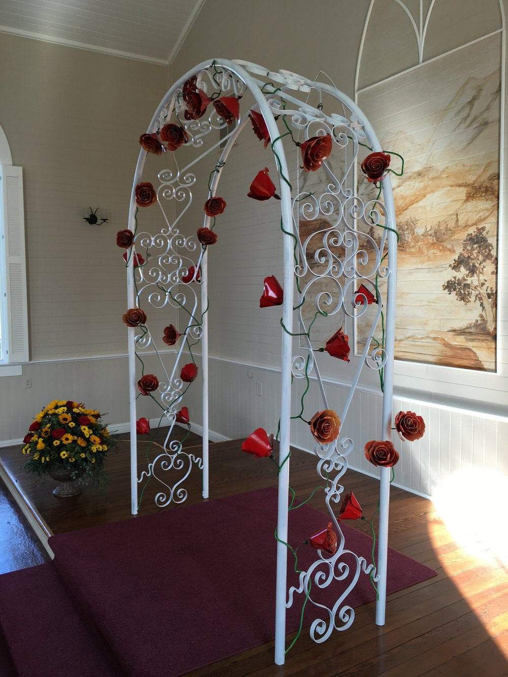 wedding arch for a local wedding chapel