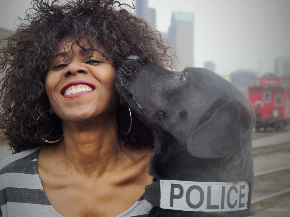 Lisa Smith Putnam{LSP}with Seattle Police Dog Bear.                                 Photo by Karen Cleveland Atchison