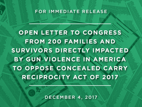 OPEN LETTER TO CONGRESS FROM 200 FAMILIES AND SURVIVORS