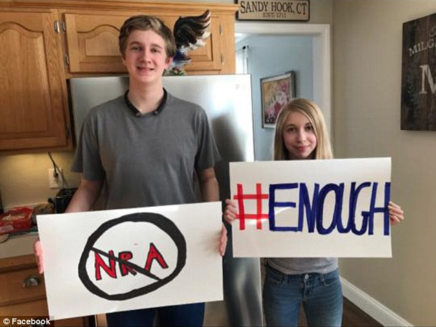 Lauren and her 15-year-old brother Dalton (pictured), a fellow Sandy Hook survivor, said they have been inspired by survivors of the Marjory Stoneman Douglas High School massacre