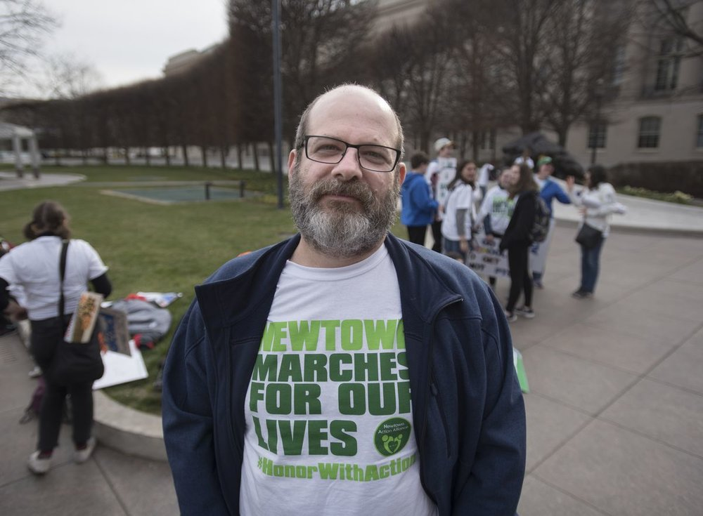 Eric Milgram, spokesperson for the Newtown Action Alliance, and approximately 400 people from Newtown, Conn., and neighbouring areas travelled to Washington, D.C., to attend the March for Our Lives rally on March 24, 2018.  FRED LUM/THE GLOBE AND MAIL