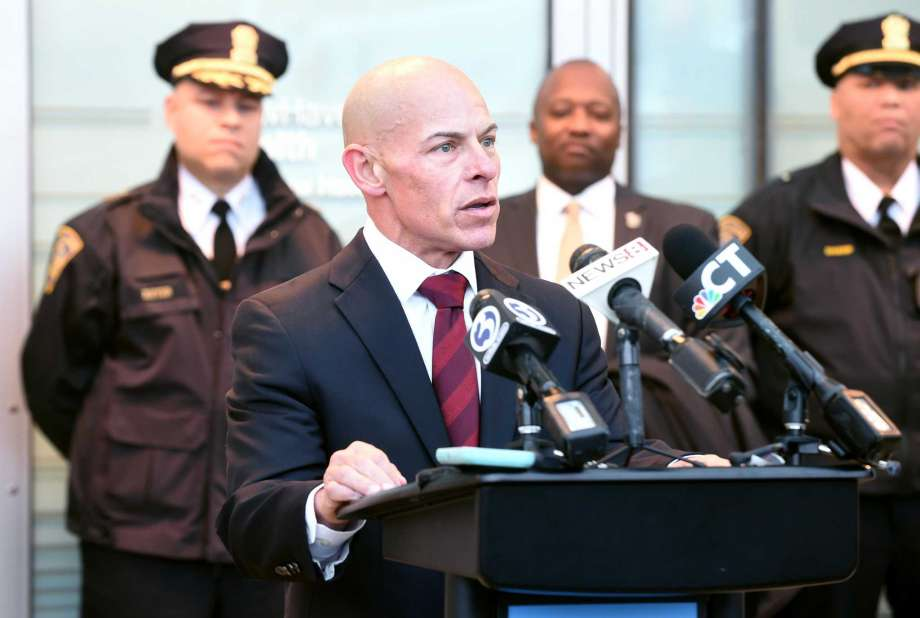 New Haven Correctional Center Warden Jose Feliciano speaks during a news conference at Yale New Haven Hospital Tuesday.