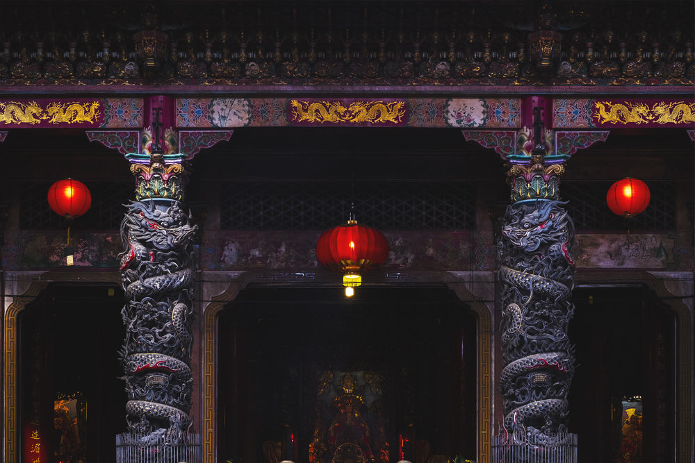 Temple Dragon Pillars