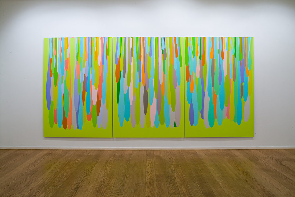 Gravity . 2005. Lacquer on aluminium. Each panel 200 x 140 cm. Overall 200 x 424 cm.