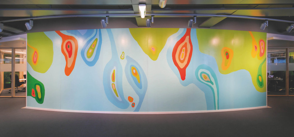 Mapping the Ocean . 2008. Aker Solution Head Quarter. Fornebu. Oslo. Lacquer on aluminium. 300 x 1100 cm.