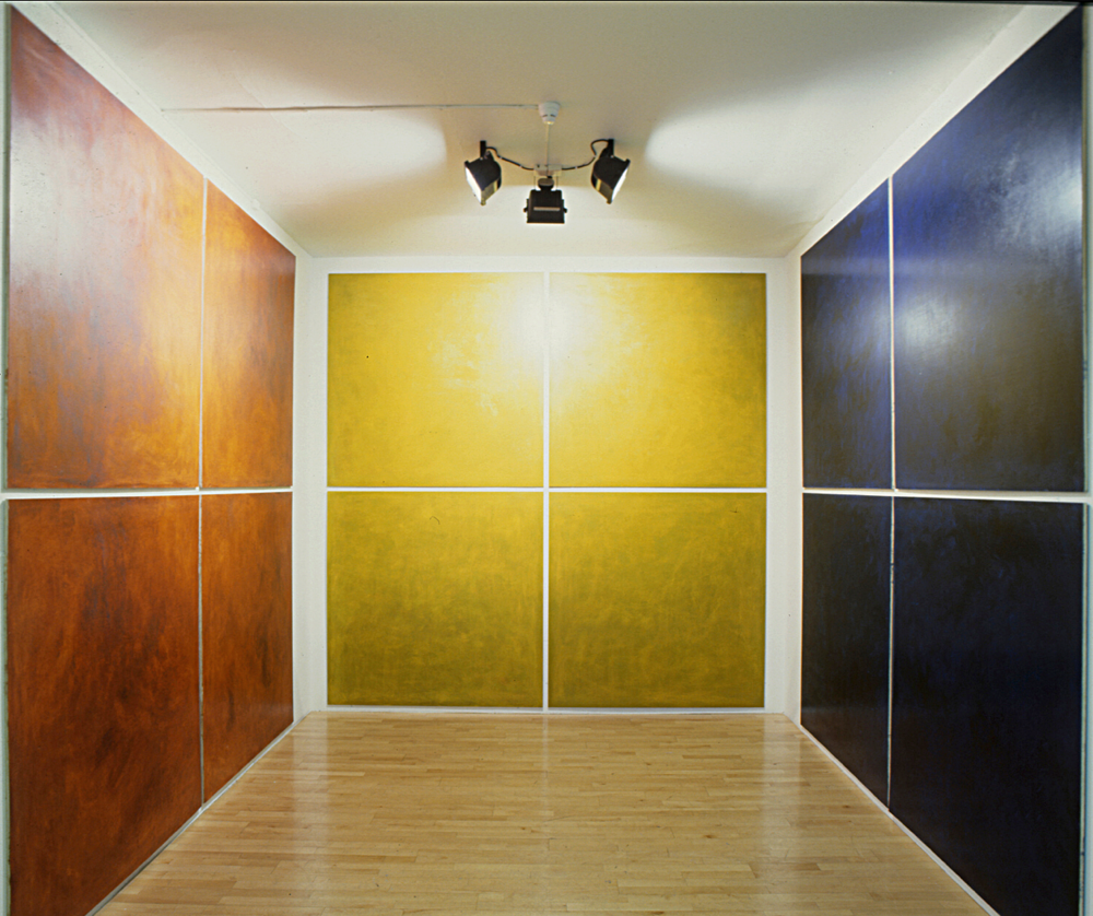 Installation view project room Galleri Riis Oslo.  Ludo . 1993. Oil and pigment on birch wood.