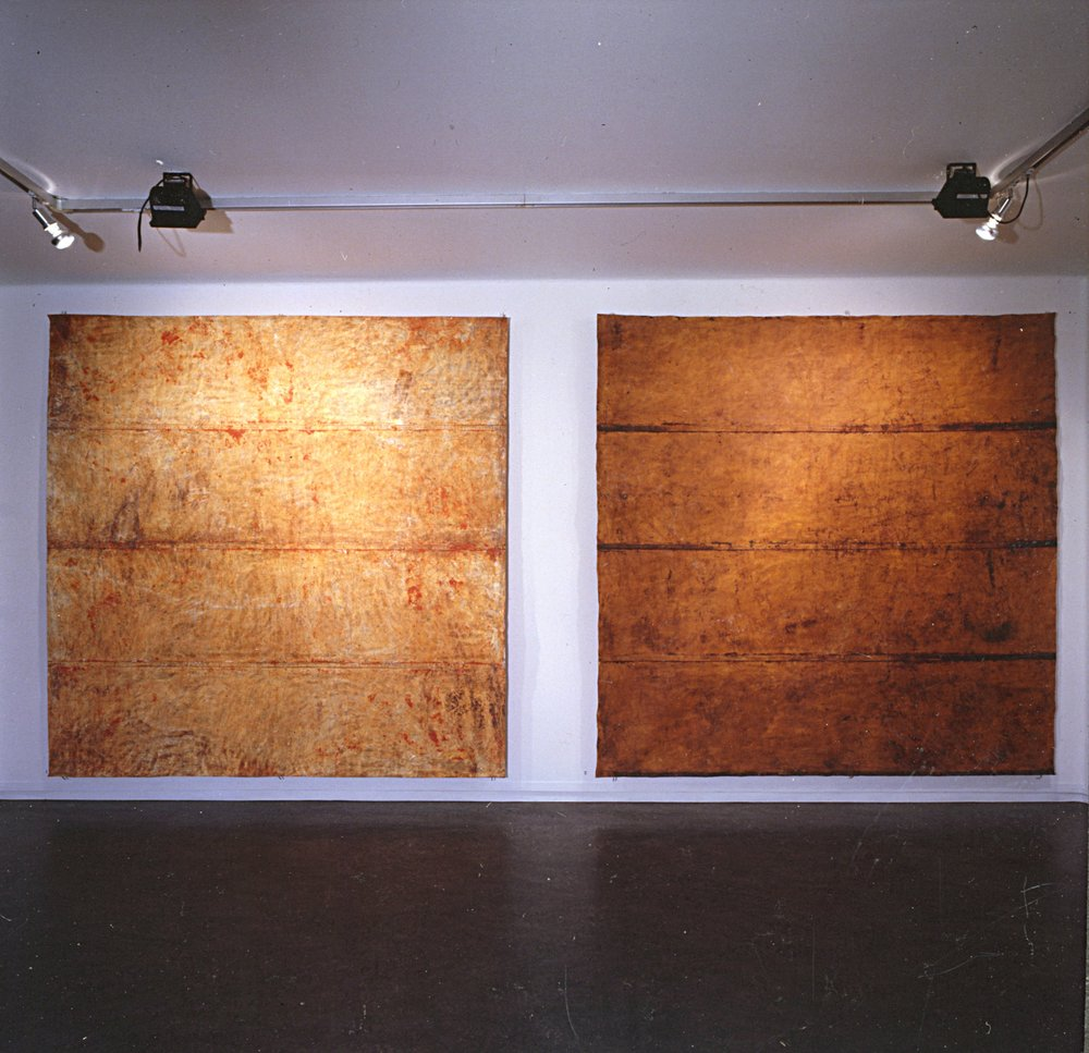 Installation view Kunstnerforbundet Oslo.   Gobi I II . 1992. Pigment on cotton canvas. 240 x 240 cm.