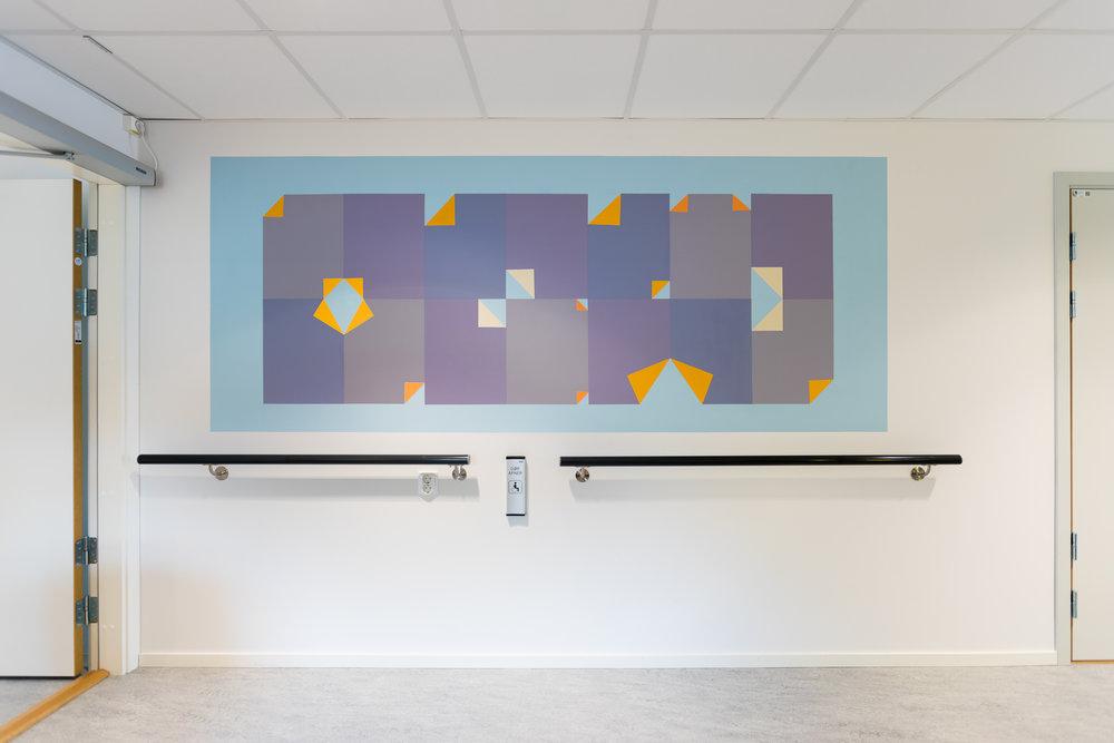 Kjerulfsgate bo - og aktivitetssenter Lillestrøm. 2018. Wallpainting.