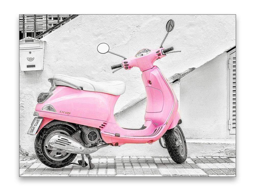 Pink Scooter - 40 x 30 cm € 65,-60 x 45 cm € 95,-90 x 60 cm, € 175,-Limited edition of 106 of 10 available