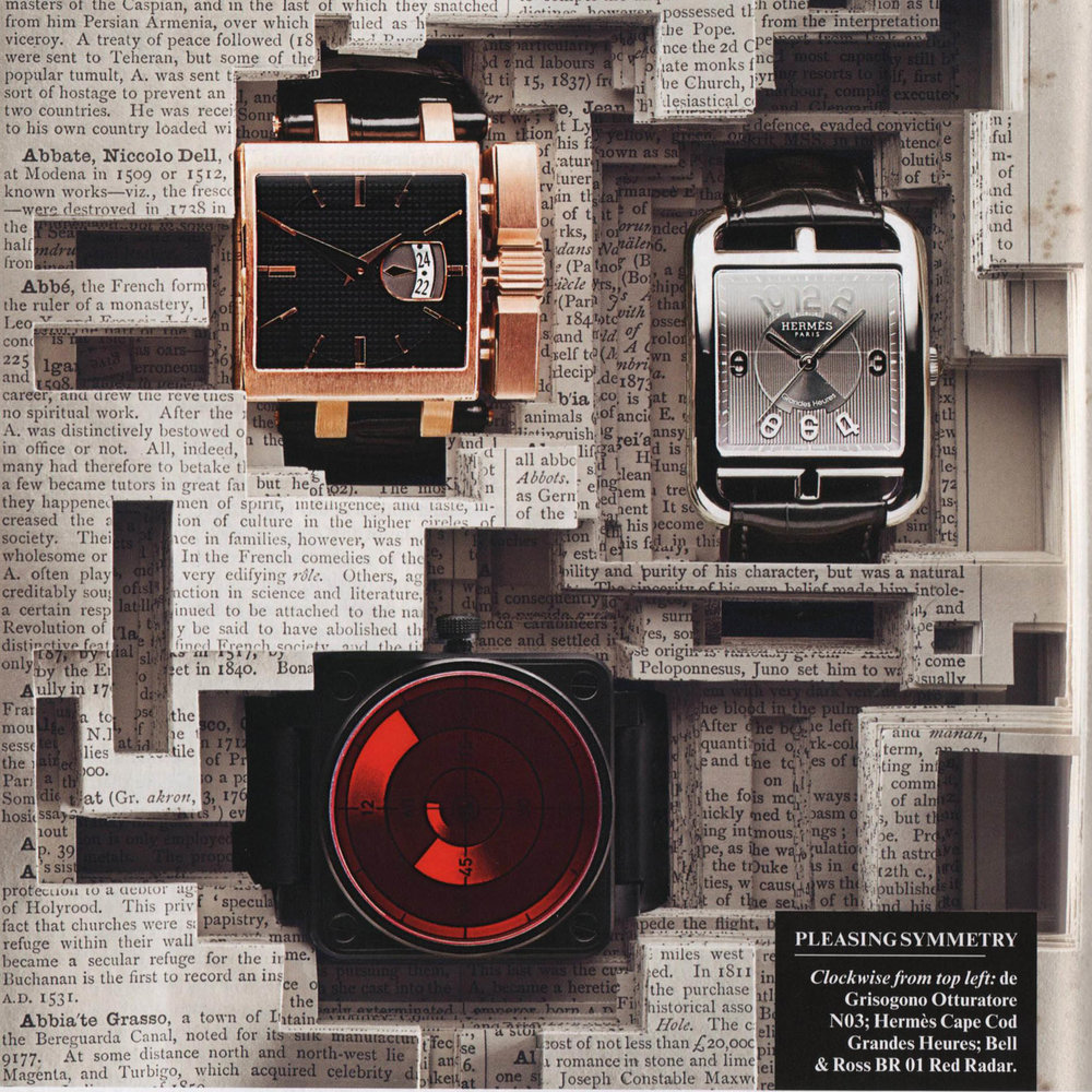 THE VANITY FAIR 'WATCH REPORT', 2011  A commission for the design and creation of six sculpted books representing themed watch collections. Watches were physically presented in hand-cut books for the bi-yearly supplement for Vanity Fair.