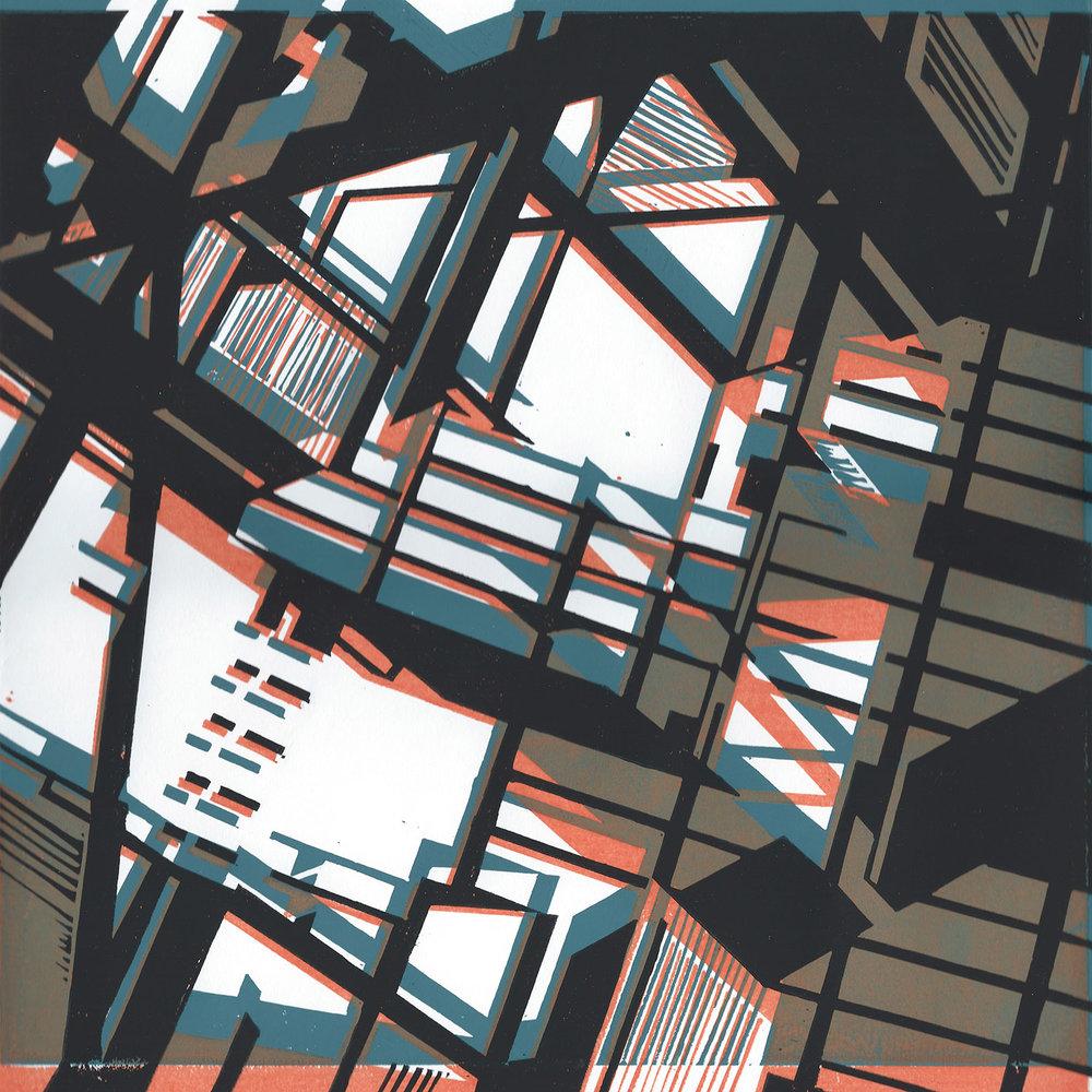 STRUCTURES 1, 2014  Three colour Linocut