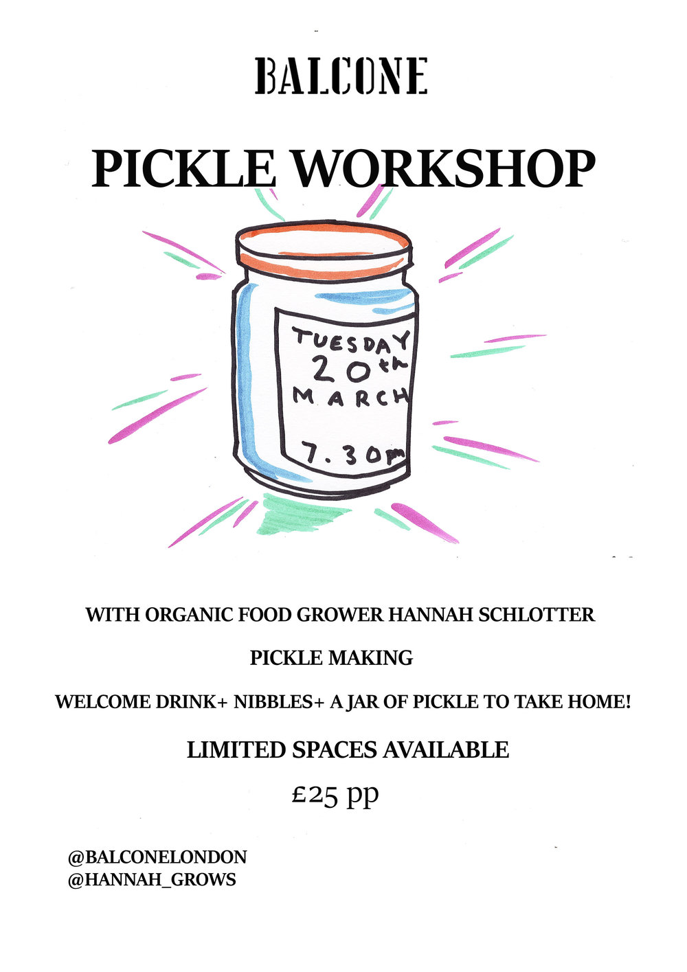 We have an amazing opportunity to learn how to make pickles with a talented organic food grower, there are limited spaces for this event so please RSVP to our email.