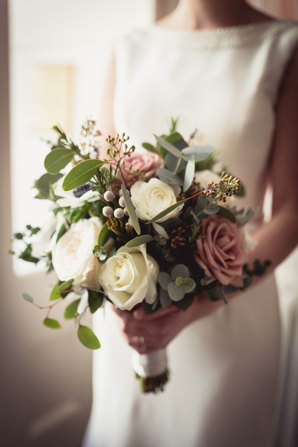 Bridal bouquet photography at Angel Hotel, Abergavenny