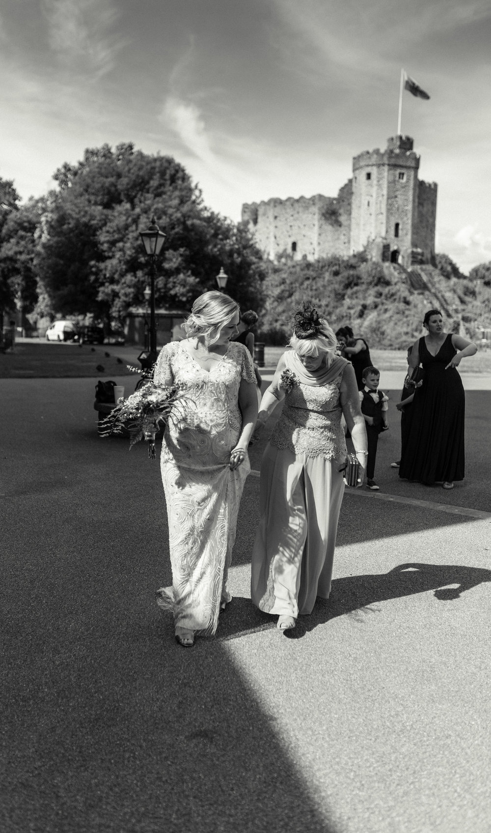 Bride and her mother arriving at Cardiff Castle