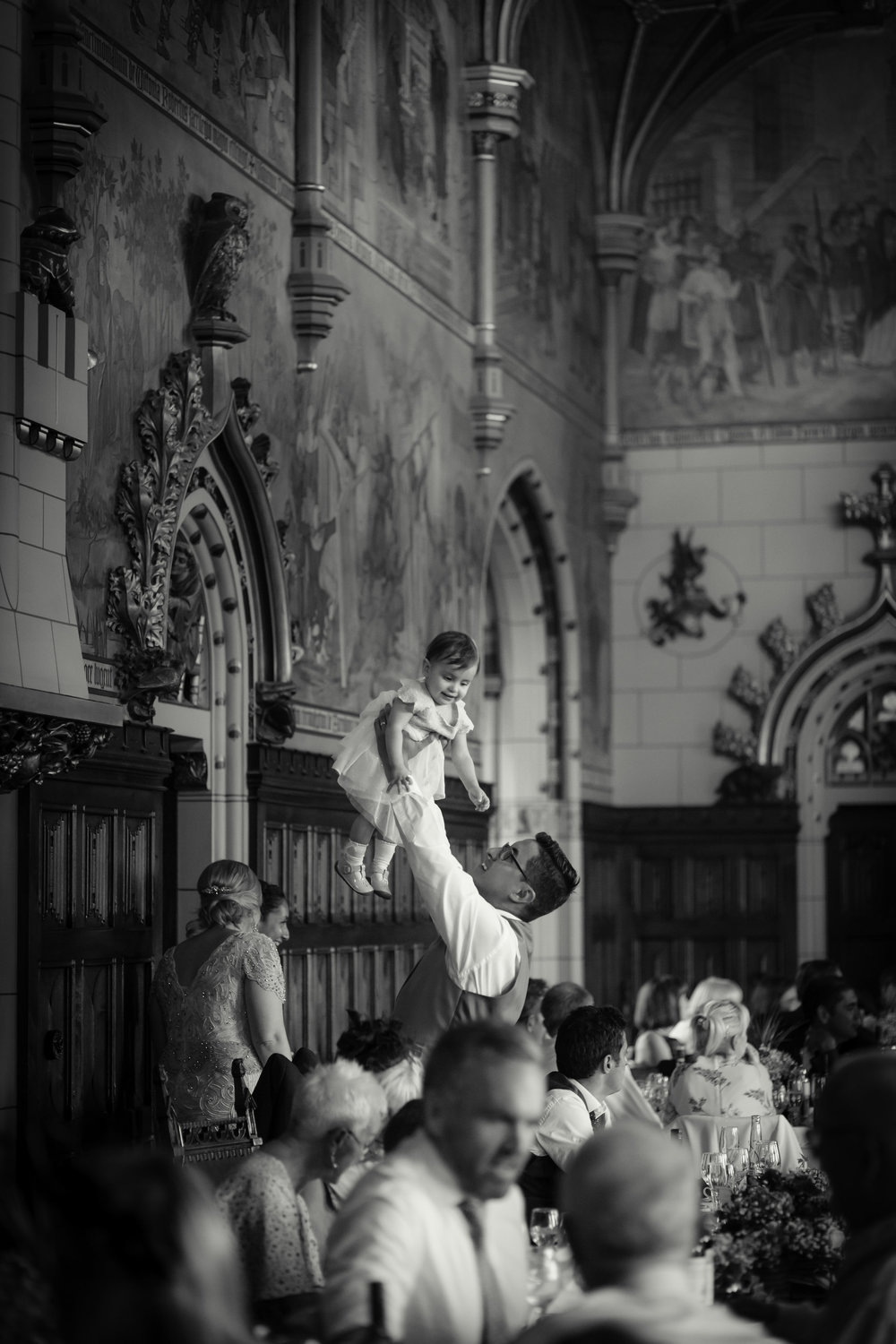 Groom and daughter playing