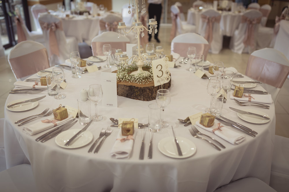 Photograph of the table at Canada Lodge wedding