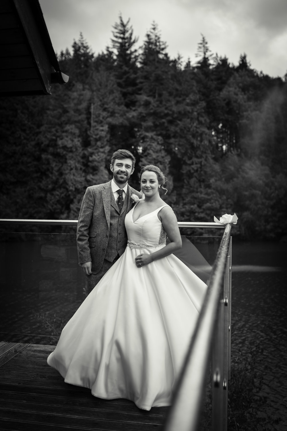 black and white portrait of bride and groom after their wedding ceremony