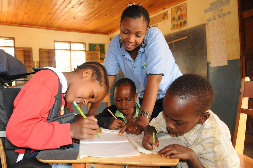 Grace from Tanzania has cerebral palsy and is supported by CBM to go to school.