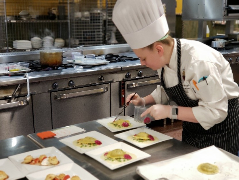 On March 18th  - our very own Lydia Ross CEC,the restaurant chef of the prestigious Chevy Chase Country Club, won the Northeast Regional Jeunes Chef (Young Chef) competition. She will be competing in the National Competition May 17th-19th in Charleston, SC. Bonne Chance Lydia!!