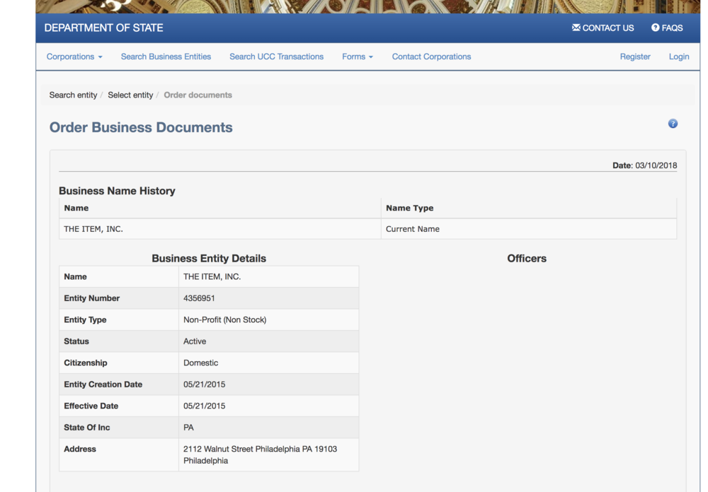 PA Corporation Registration (screen grab)