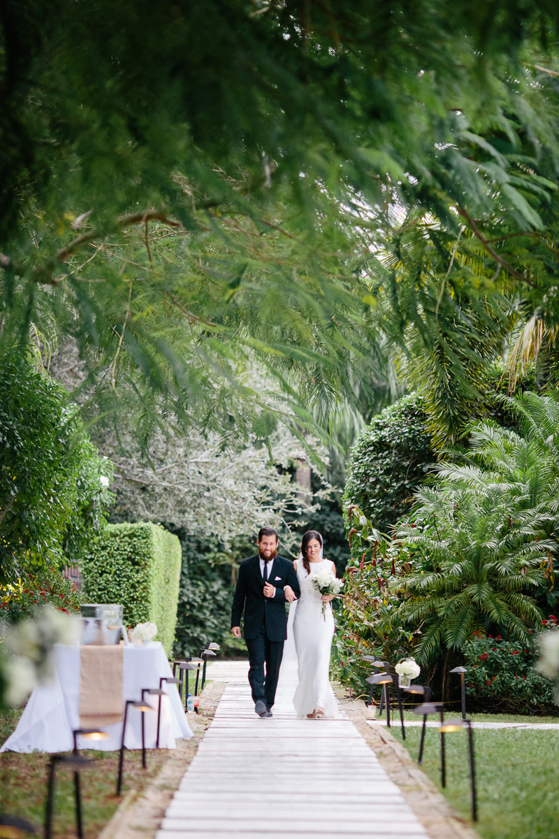 Bride-and-Father-Walking-Outdoor-Aisle