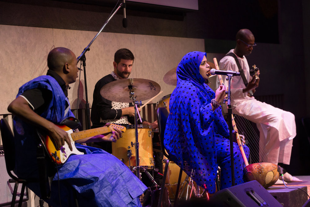 Noura Mint Seymali at the Lincoln Center Atrium thursday June 7th, 2018. Noura Mint Seymali on lead vocals and ardin, Jeiche Ould Chighaly on guitar, Ousmane Touré on bass, Matthew Tinari on drums