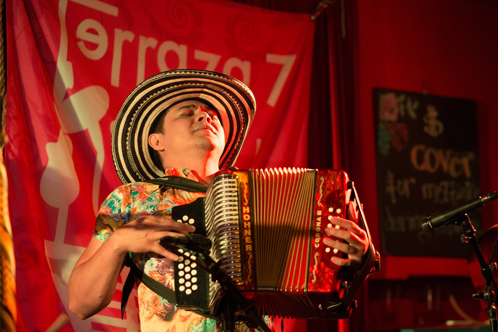"Guest artist Yeison Landero on button accordion, graandson of ""Accordion King"" Andres Landero an original member of the group."