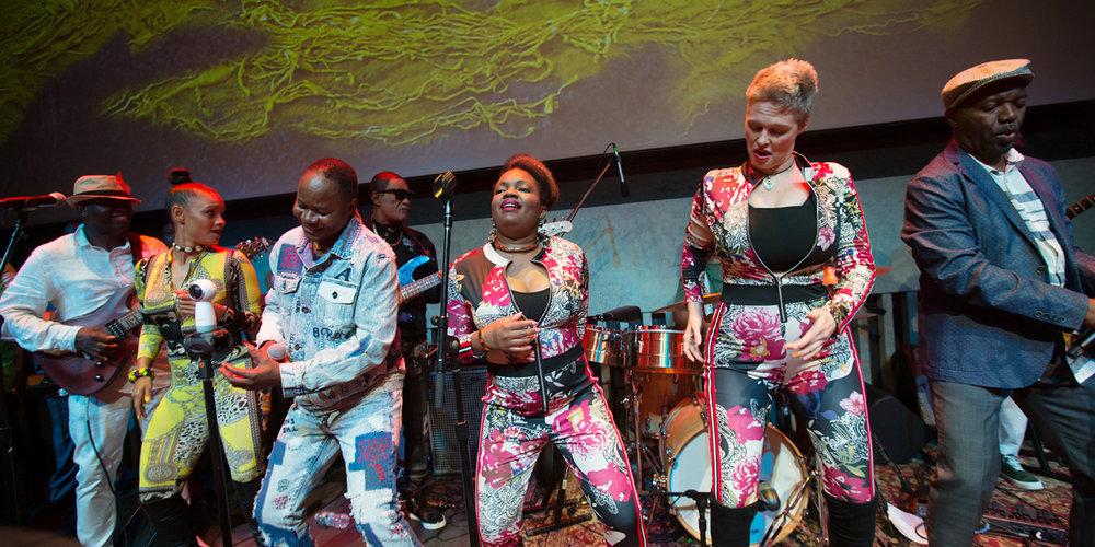 (L-R) Elie Kihonia, Eto'o Tsana, Nyboma Mwan'dido, Sahara Nzongola, Shannon Lower and Luciana Demingongo