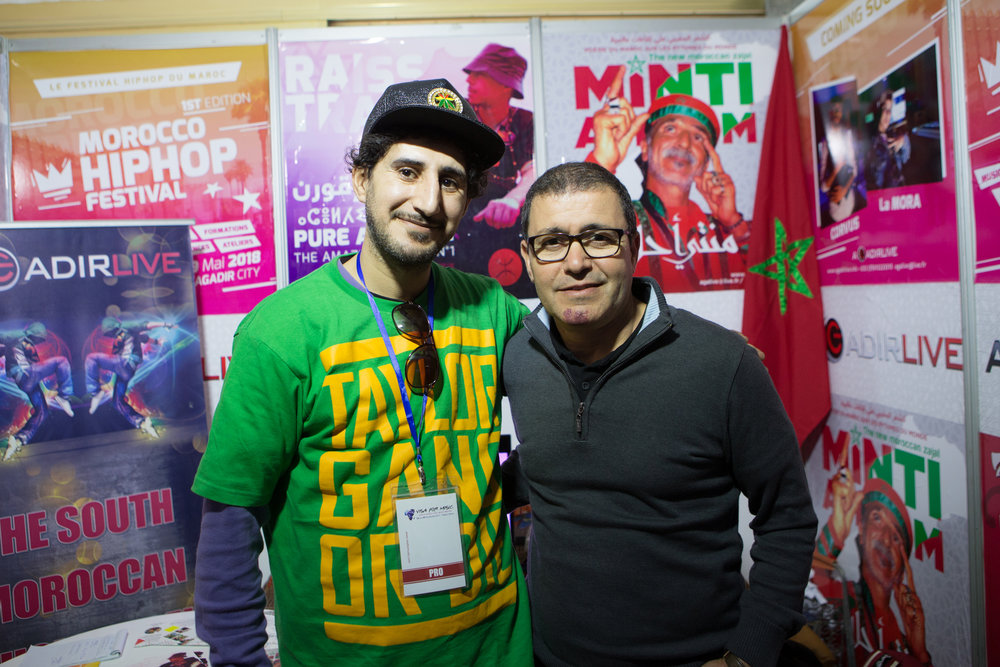 Brahim El Mazned, Director For Visa For Music and Moroccan rap music producer X-One, saturday, November 25th at the 2017 marketplace.
