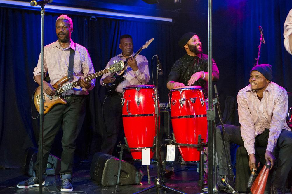 Nkumu Katalay, on congas, performing with Zaiko Langa Langa at Le Poisson Rouge