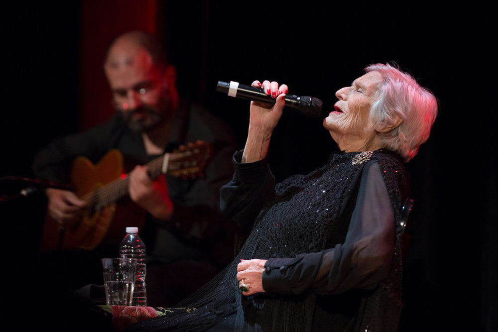 Fado legend Celeste Rodrigues at Town Hall, Manhattan in her NY debut at age 95, during the 2018 Fado Festival. Sadly she passed away August 1st. Presented by  Livesounds