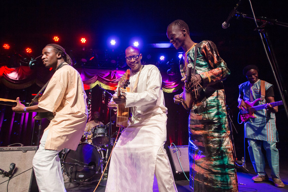 """Sidi Toure and band at the World Music Festival Mali Festival at Brooklyn Bowl April 14th. The esteemed Songhai musician supported the release of """"Toubalbero"""" adding a new dimension to the sound by turning to electrified instruments."""