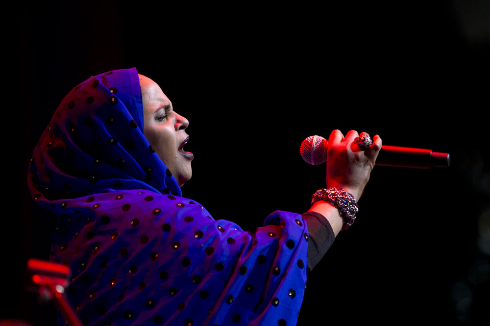 Noura Mint Semali of Mauritania at the  Lincoln Center Atrium  June 7th, she and her band Jeiche Ould Chighaly on guitar, Ousmane Touré on bass, Matthew Tinari on drums fit in the NY appearance before heading to Bonnaroo and a European summer tour.