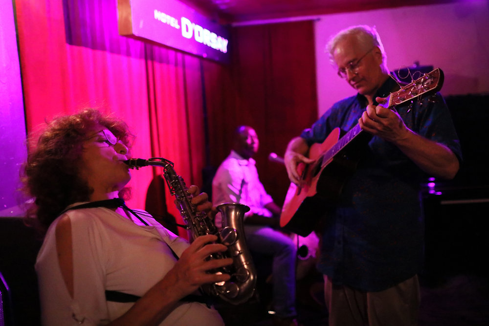 Voyagers, Edith Lettner sax, Yacouba Sissoko, kora and Banning Eyre, guitar at Barbes, September 20th.