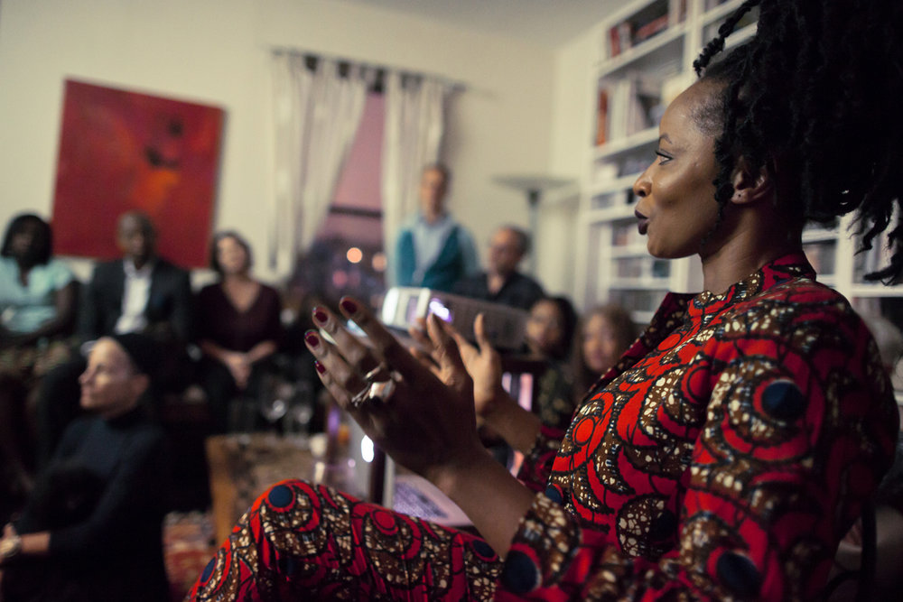 Natu Camara talking about her music at a Harlem viewing party, February 23rd