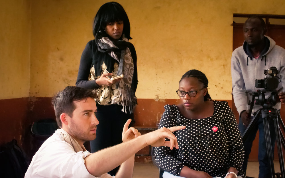 Bud and Evie offer guidance on direction and sound on the set of  Zumari. Photo Credit: Gabriel Kariuki