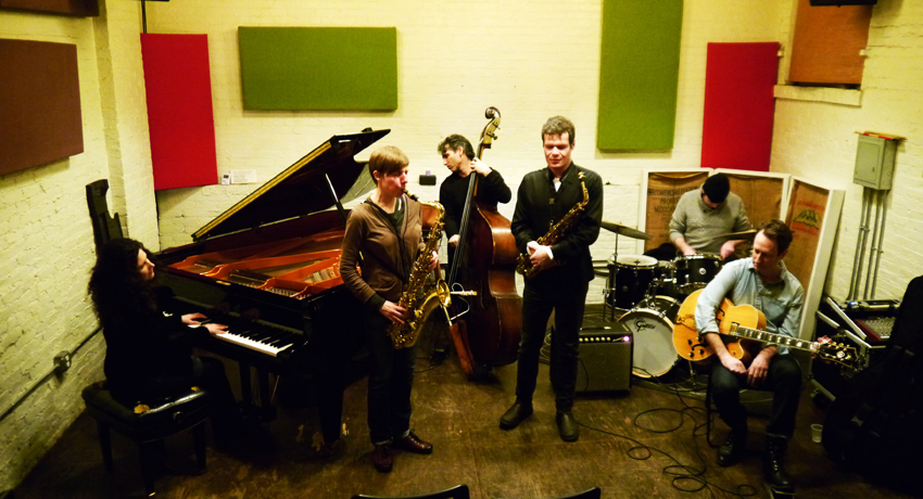 Nick Lyons Sextet at ibeam, Bklyn, February 1, 2015: Nick Lyons-alto; Birgitta Flick-tenor; CL-piano; Adam Caine-gtr; Adam Lane-bass; John Wagner-drums