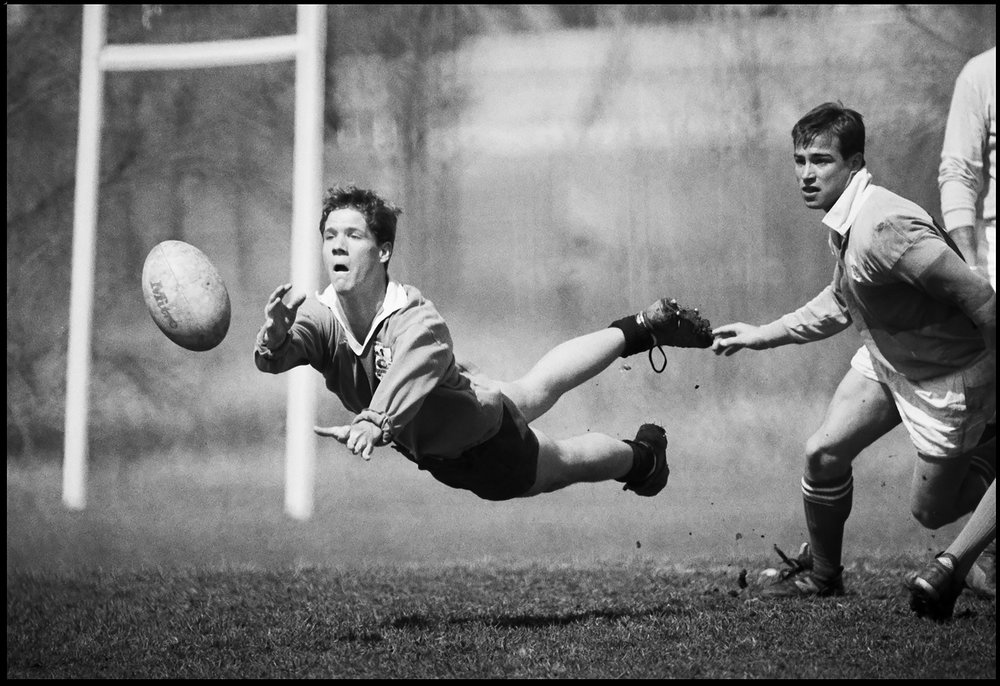 Rugby photographed with a Nikon F and F36 motor drive using a Nikon 500mm f/8 mirror lens.