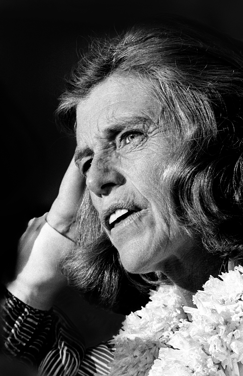 Eunice Kennedy Shriver speaking at the 1975 International Special Olympics opening ceremonies.