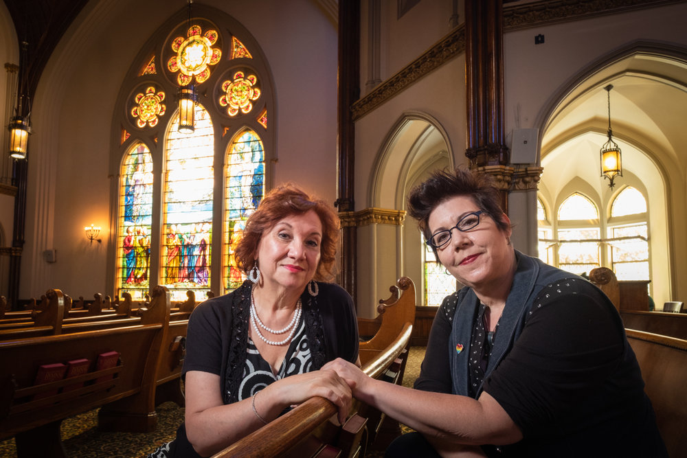 Yvonne Hudson and Lynette Asson in the sanctuary at Calvary United Methodist Church.