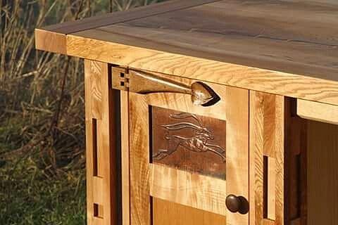 Menzies Design Ash Desk with Copper panels
