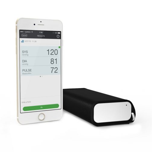 picture of the Qardio Arm personal blood pressure monitor and app